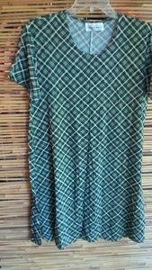 Green Creme Diagonal Plaid Dress 14 Plus